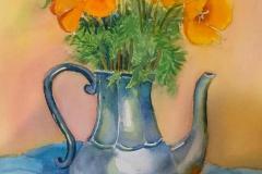 Poppies in Silver Pot, Rose Sloan