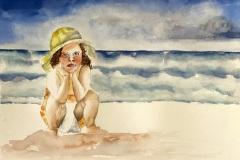 Contemplating in Hanalei Bay, Arleen Schaller
