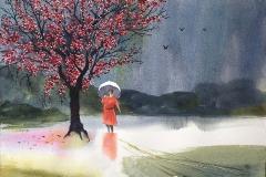 Pink Blossoms Red Dress, Michael Friedland, Pink Rain